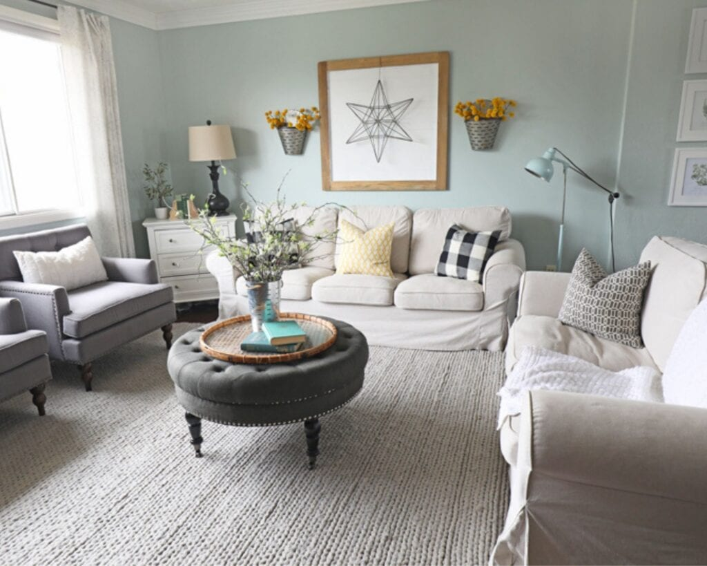 crafter home tour diy living room makeover blue sofa before picture