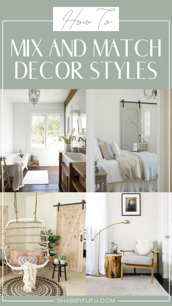 decorative collage image of four different images of decor living rooms, bathroom, kitchen and reading nook