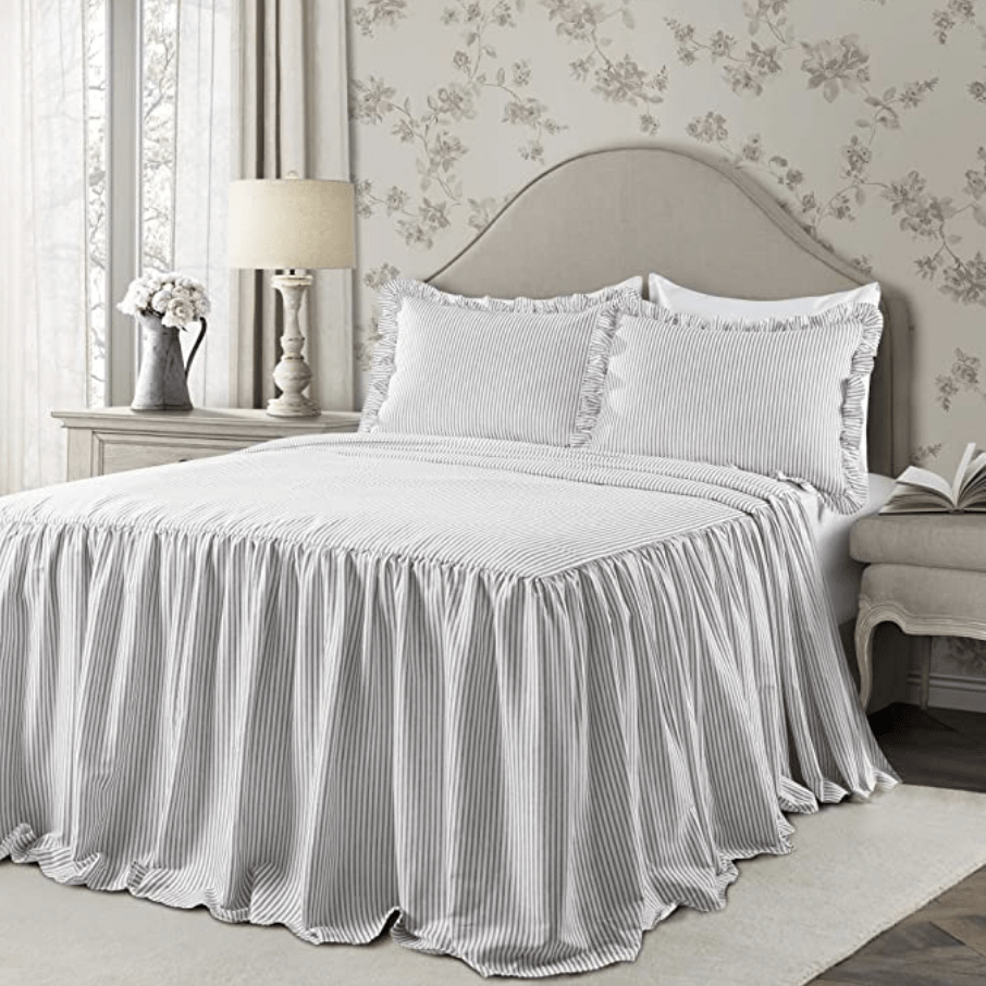 pinstriped bedcover