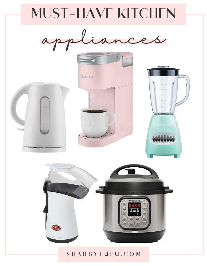 kitchen appliances collage image includes: coffee maker in pink, mint green blender, pressure cooker, kettle, popcorn maker