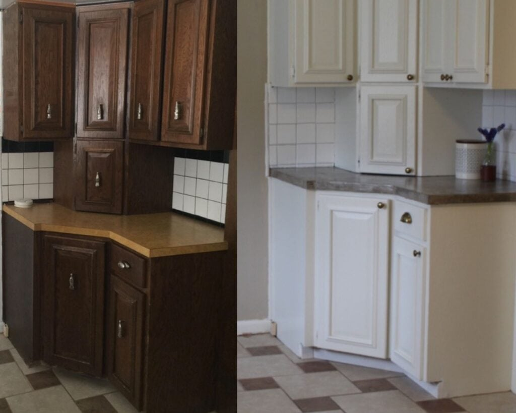 before and after photo of old renovated kitchen makeover diy