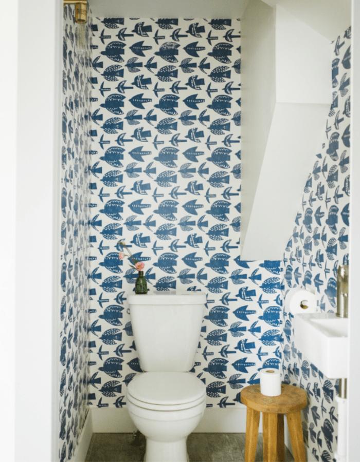 blue birds pattern wallpaper small powder bathroom