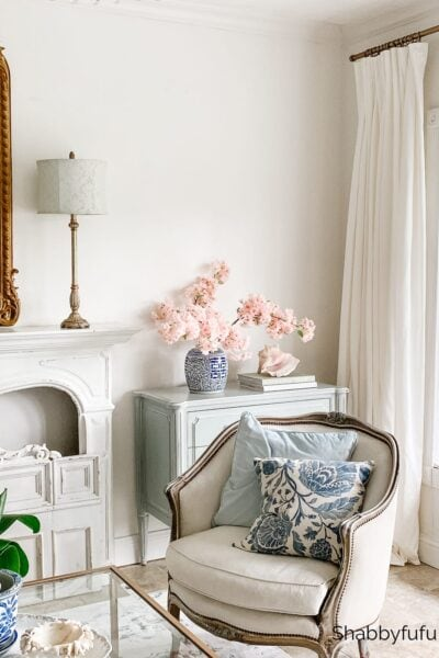 sophisticated living room during summer, featuring transitional style decor