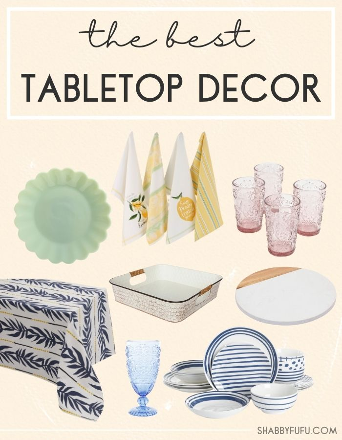 collage image of tabletop decor featuring jade salad plate, yellow kitchen towels, Rose Glass Tumblers and other ceramic items