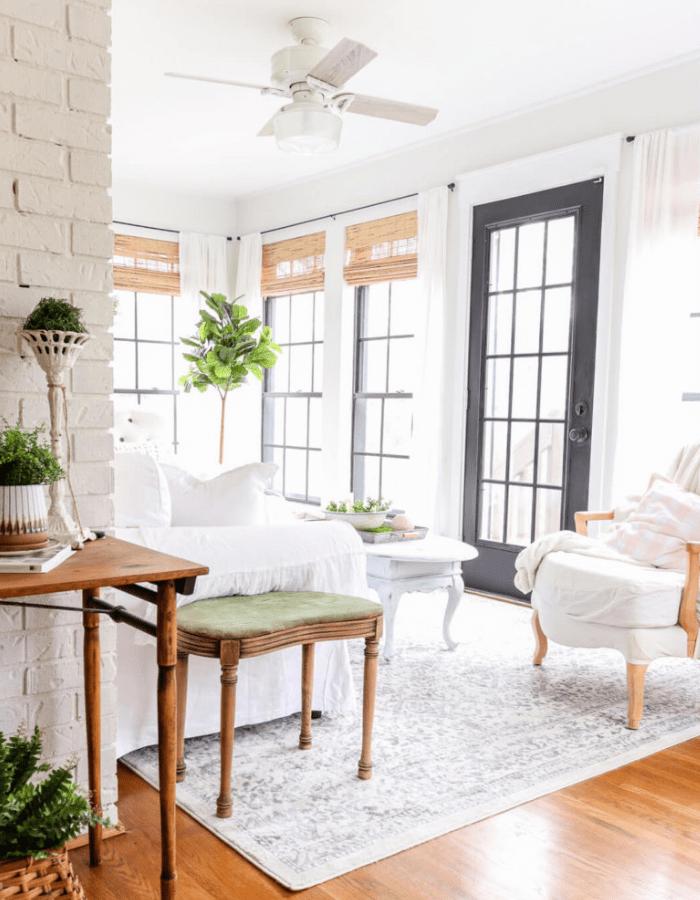 elegant farmhouse style sun room makeover