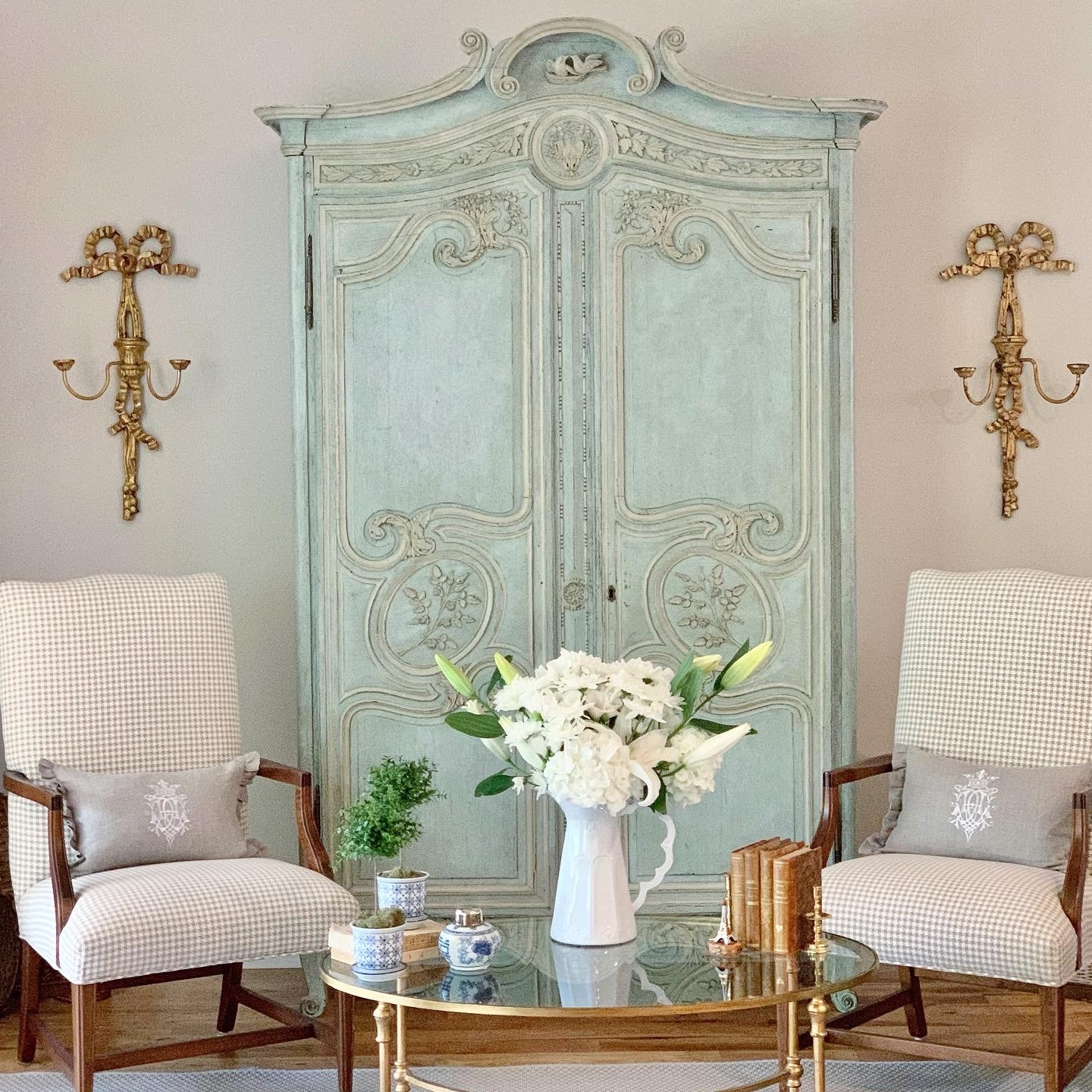 French country style home cabinet in blue