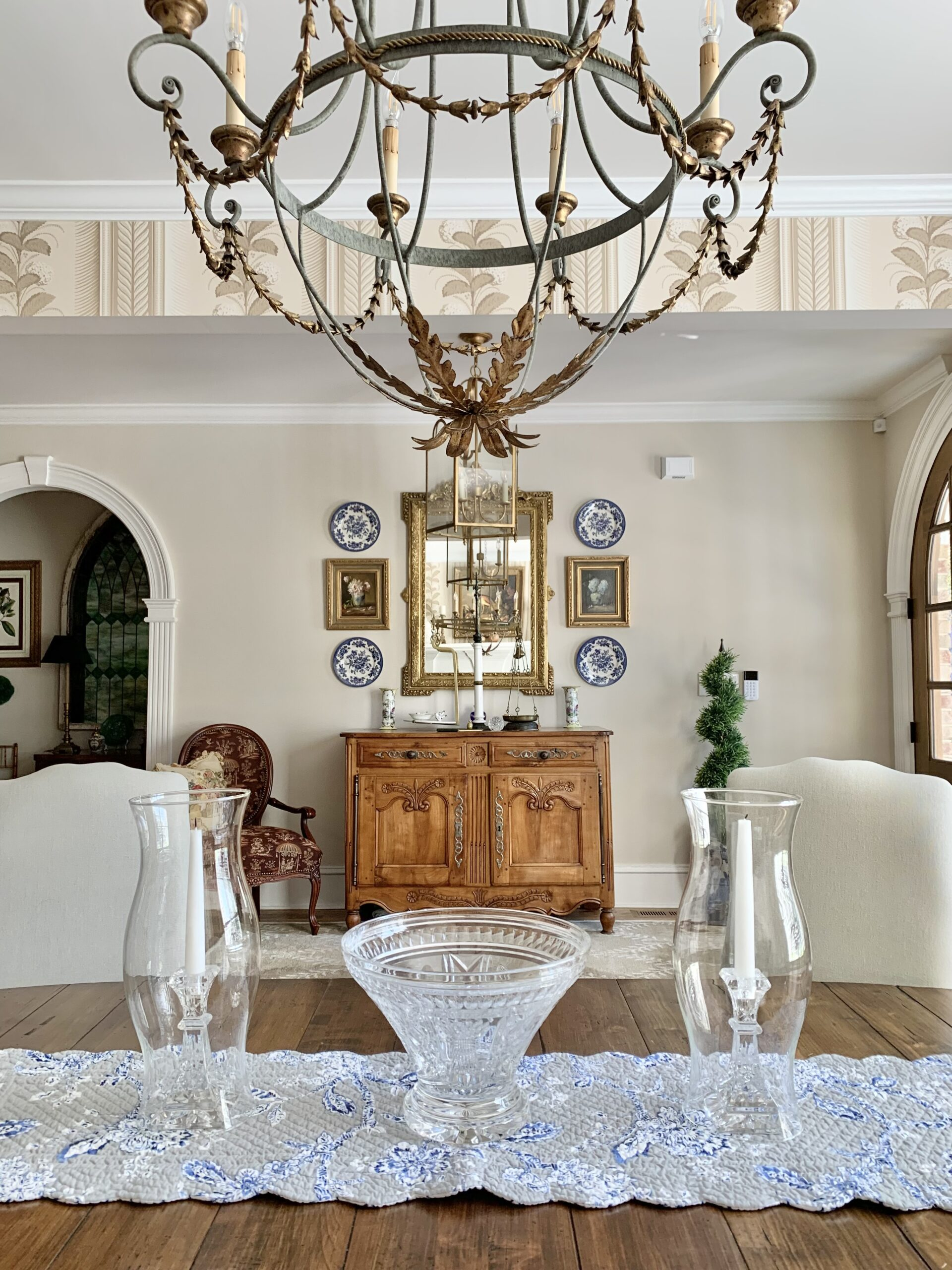 French country style home tour chandelier