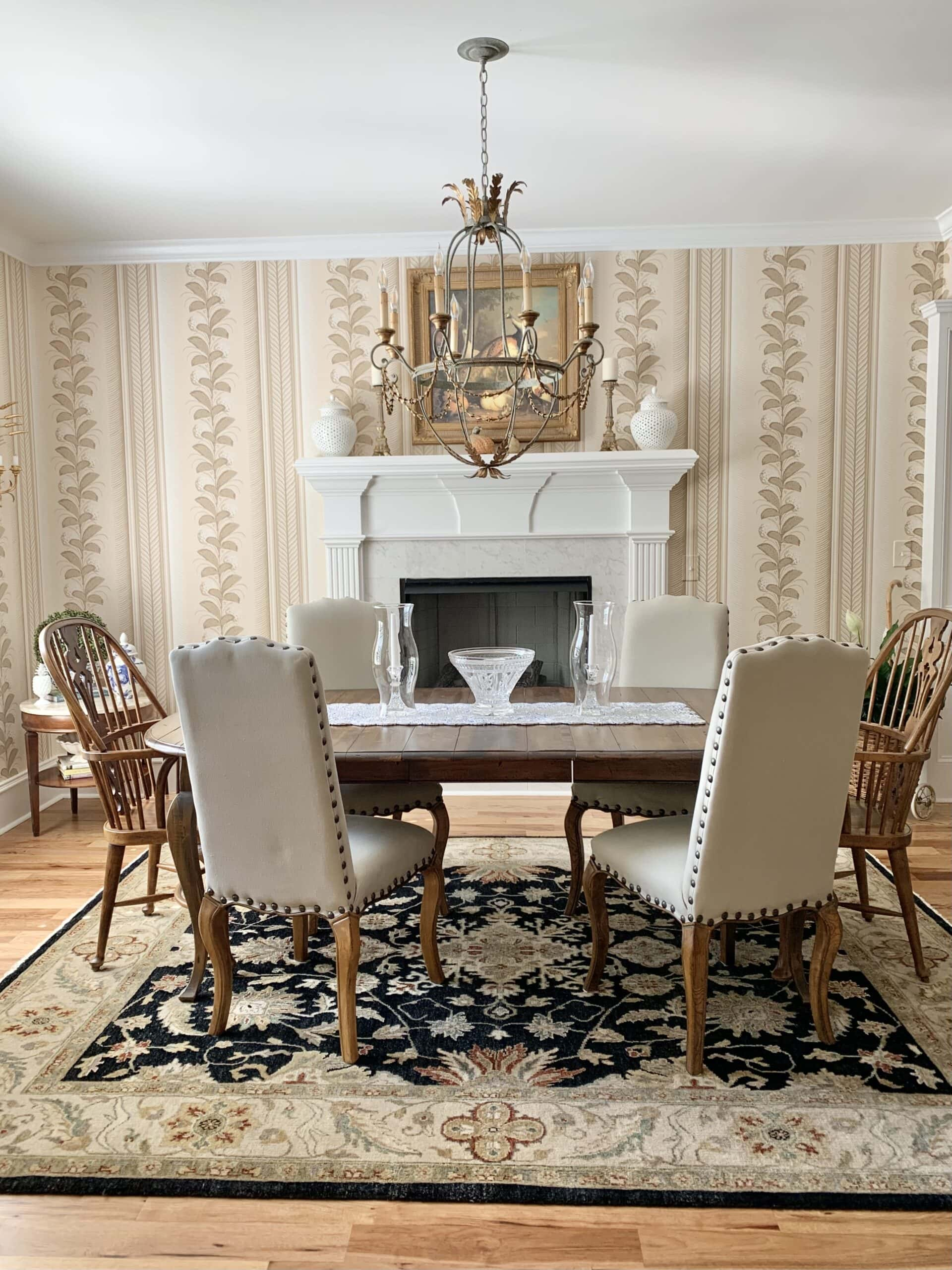 French country style home tour Schumacher wallpaper