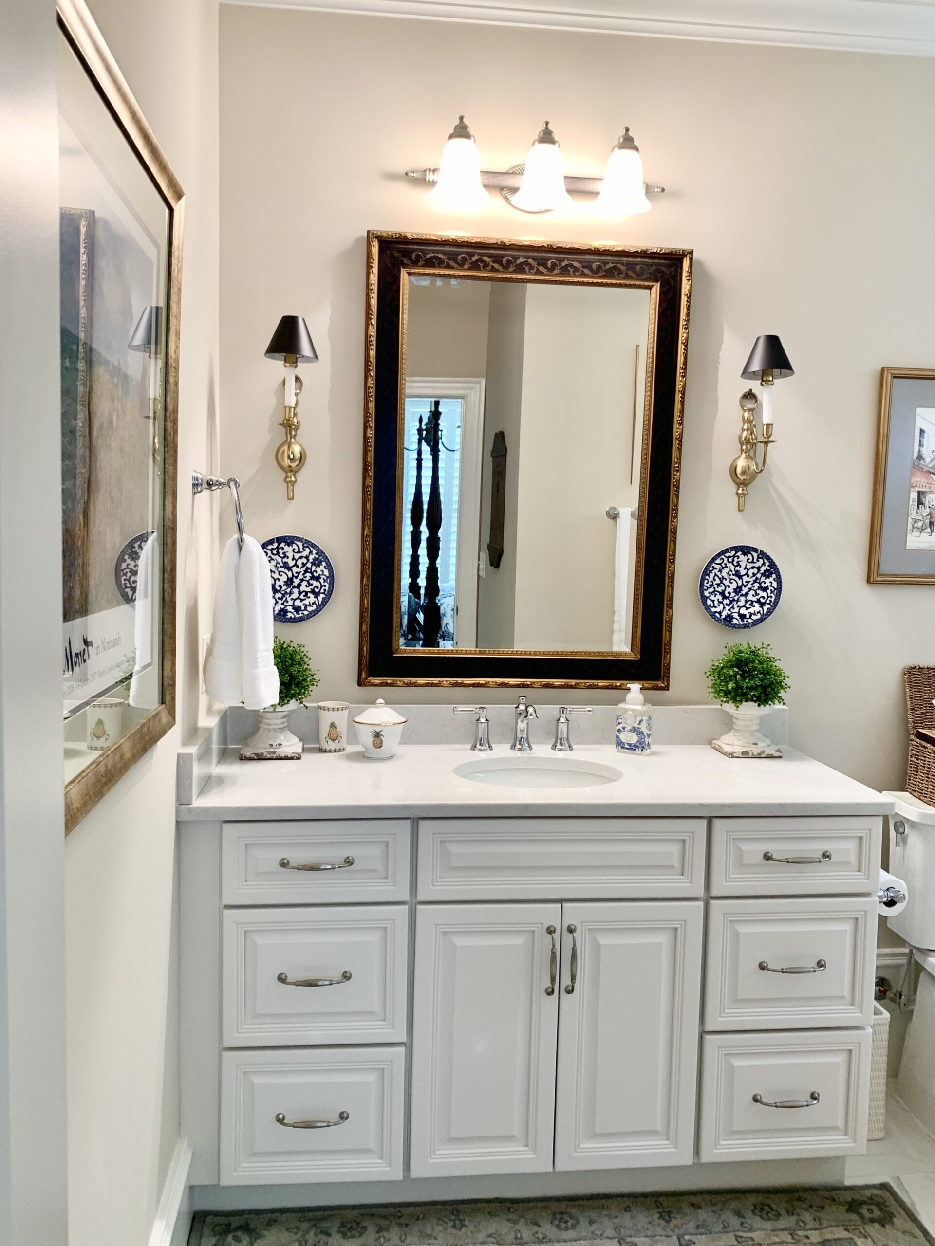 French country style home guest bathroom