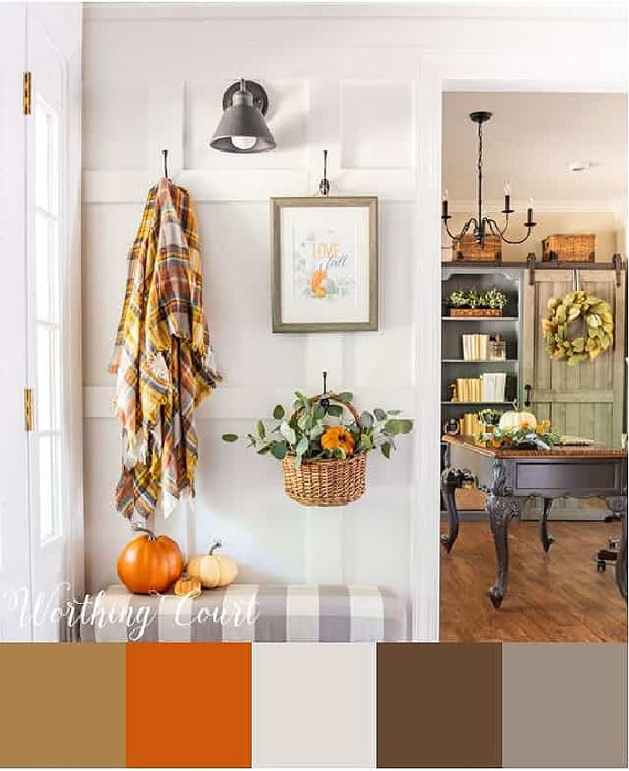 color palette used for fall decor in a foyer with a board and batten wall