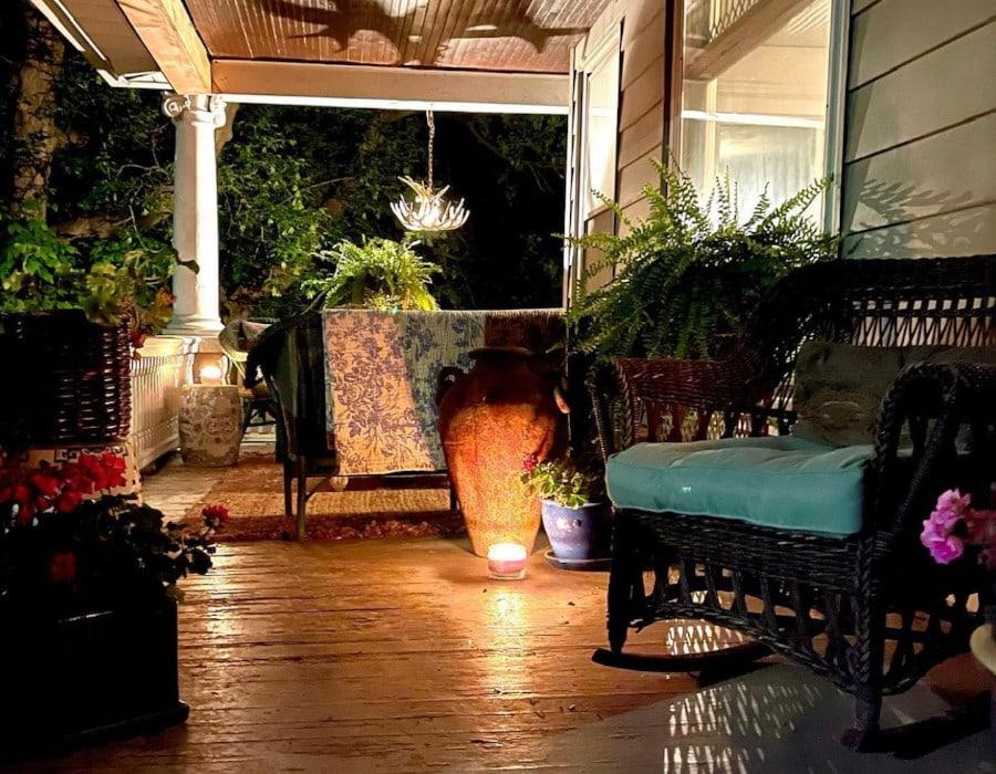 Grandmillennial styled farmhouse porch upper fixer