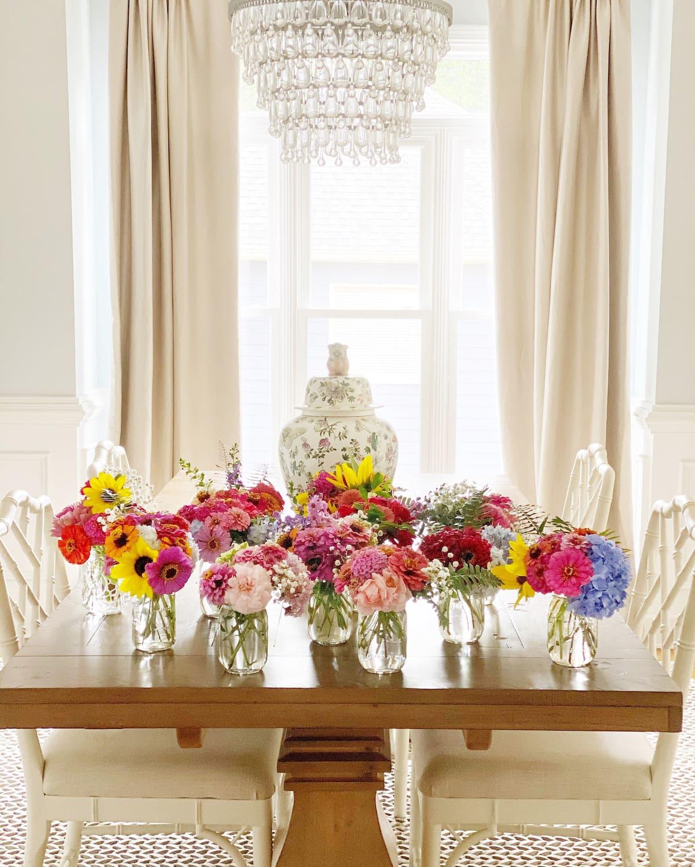 elegant transitional grandmillennial home with garden flower table setting