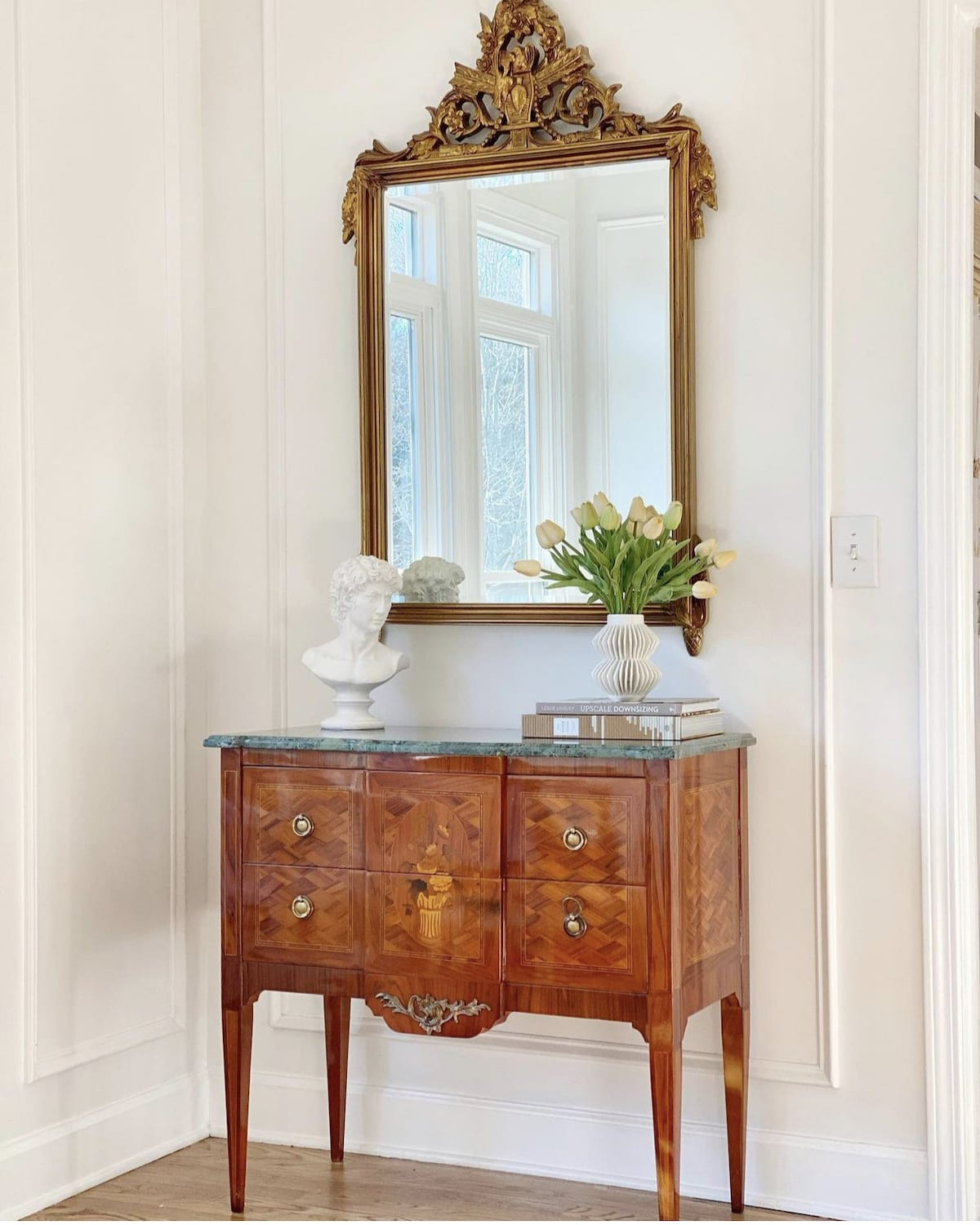 French mirror and cabinet