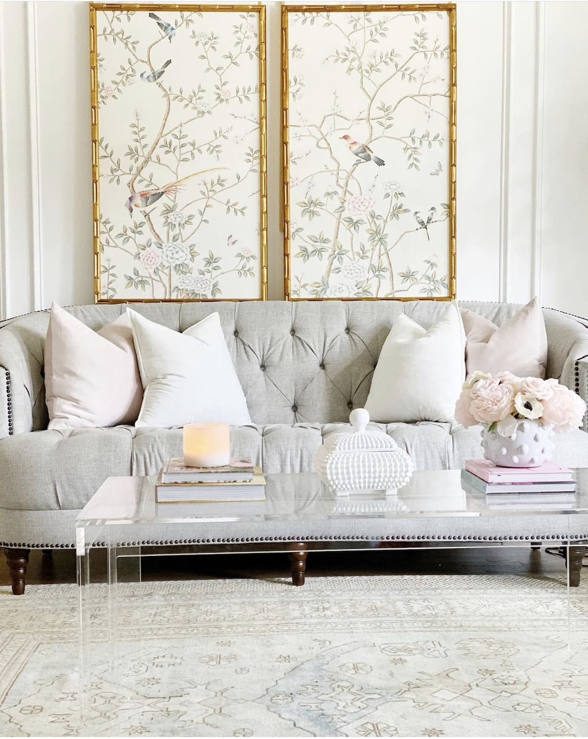 elegant transitional grandmillennial home with chinoiserie panels