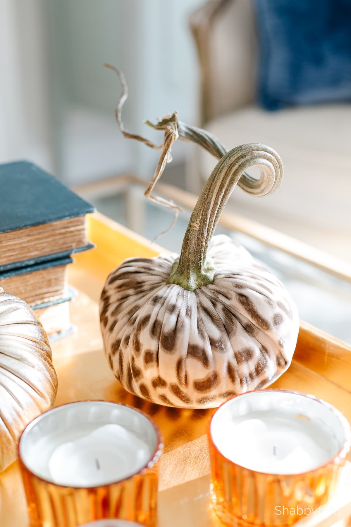 leopard luxe fall decorating with velvet pumpkins