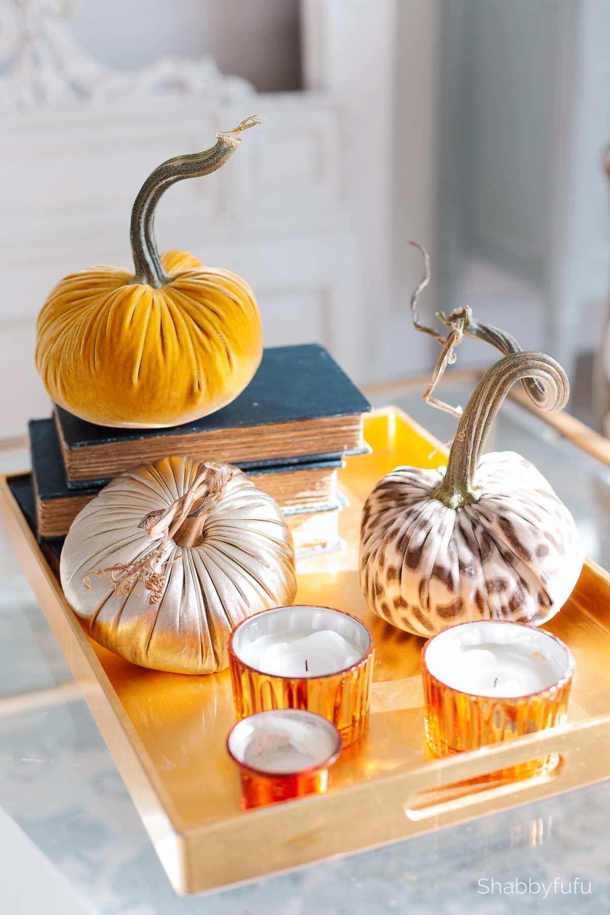gold candles and velvet pumpkins fall 2021