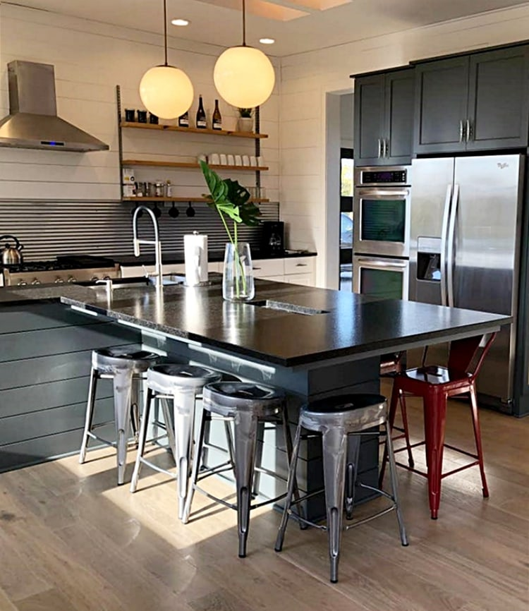 industrial style kitchen with gray cabinets and stainless steel