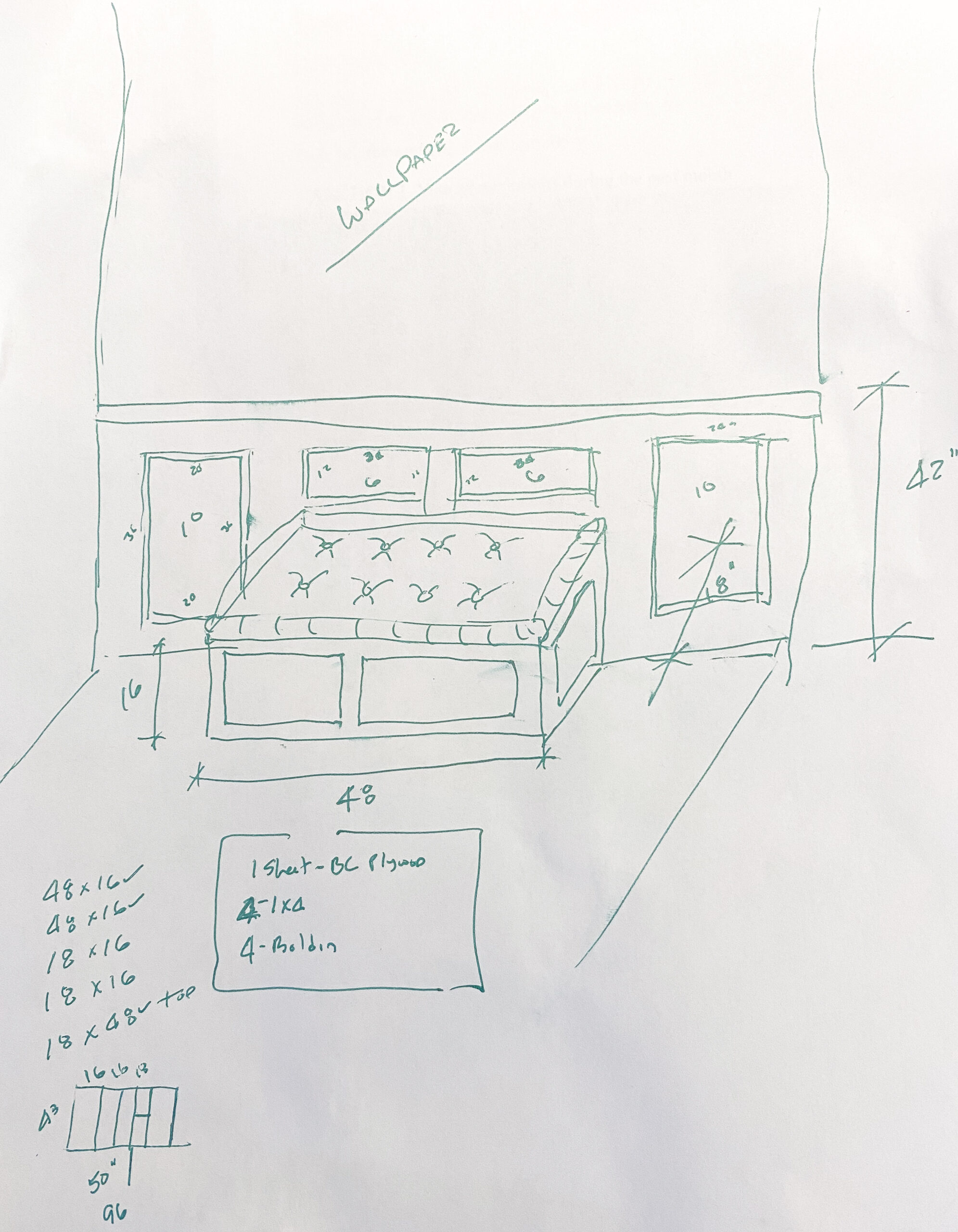 drawing of breakfast room banquette project