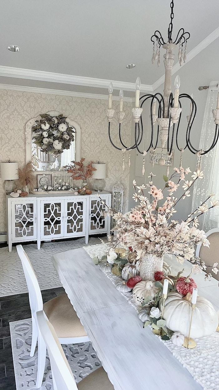 pink fall decor tablescape