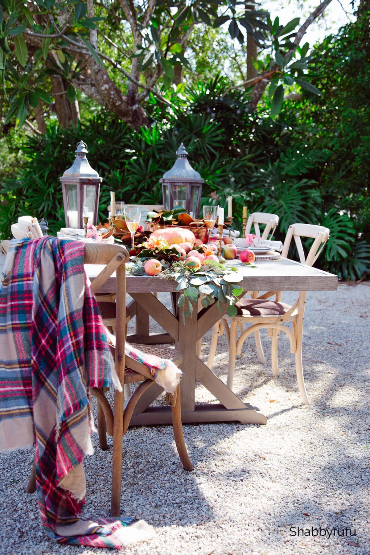 fall outdoor table setting