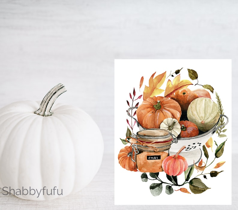 white pumpkin beside image of a free printable